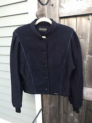 $10 • Buy SALE Geiger Austria Classic Navy Blue Wool Jacket Knit Sweater Cardigan 42