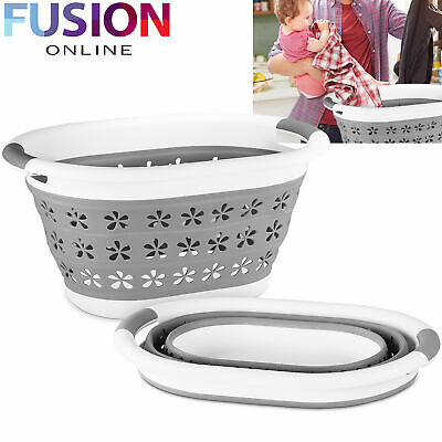 Collapsible Laundry Basket Large Folding Cloth Washing Pop Up Bin Space Saving • 10.49£