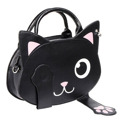 Banned Apparel Bag Of Tricks Womens Black Cat Paws & Face Shoulder Strap Handbag • 21.64£