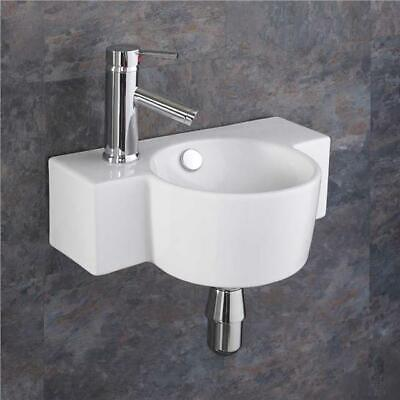 Wall Mounted Sink Ceramic 400mm X 280mm Small Sink Space Saving Basin Bathroom • 59£