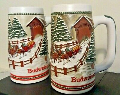 $ CDN26.17 • Buy Budweiser Clydesdale Covered Bridge Beer Stein 1984 Collectible Set Of 2
