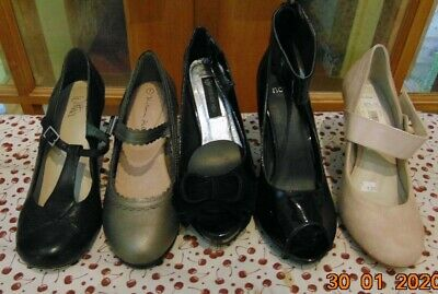 AU90 • Buy 5 SHOES BLACK GREY BEIGE T BAR Mary Jane BETTS WITTNER COURT PIN UP 50'S SIZE 7