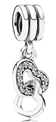 Genuine Silver PANDORA Interlocking Sparkling Love Hearts Pendant Charm RRP £35 • 15.99£