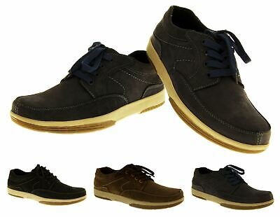 Mens YACHTSMAN REAL LEATHER Black Brown Navy Casual Boat Deck Shoes Size UK 7-11 • 29.99£