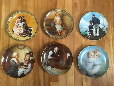 $ CDN89.99 • Buy Norman Rockwell Plate Set Collectors Vintage Decorative 6 Plates Brenda Burke