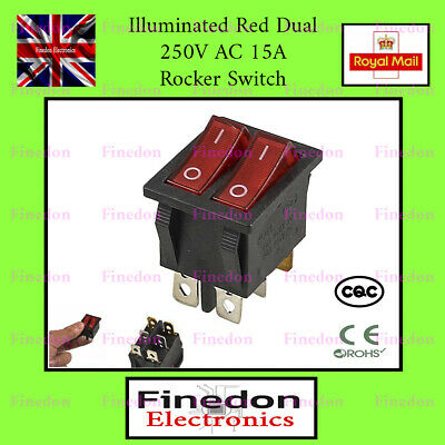 Dual Red Illuminated 250V AC 15A ON/OFF SPST Boat Rocker Switch UK Seller • 3.48£