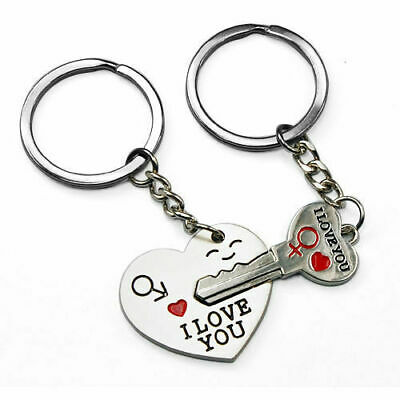 Romantic Double Keyring Gift For Valentines Boyfriend Girlfriend 'I Love You' • 2.95£