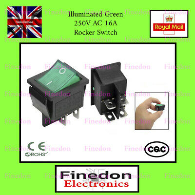 Rocker Switch 16A 240V, 20A 125V Green ON-OFF Double Pole 4 Pin ILLUMINATED • 2.98£