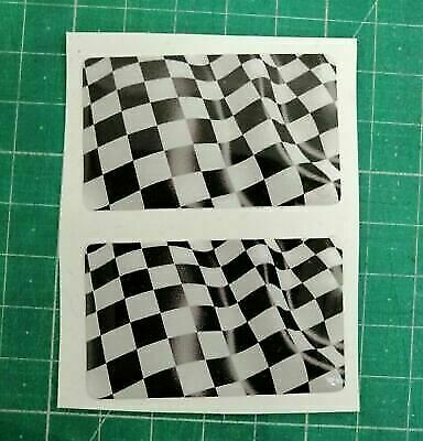 £2.75 • Buy Chequered Flag Domed Sticker 3D Gel Overlay Car Race Racing Badge 50x25mm X2
