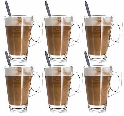 £6.15 • Buy 2X Latte Glasses Mugs 240ml Fits Tassimo & Dolce Cappuccino Coffee With 2 Spoons