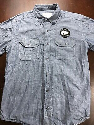 $15 • Buy Goose Island Beer Company Gray Button Up Short Sleeve Shirt - Men's Size Large