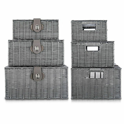 Set Of 3 Resin Wicker Woven Storage Baskets  Hamper Box With Lid Lock  Grey • 14.90£