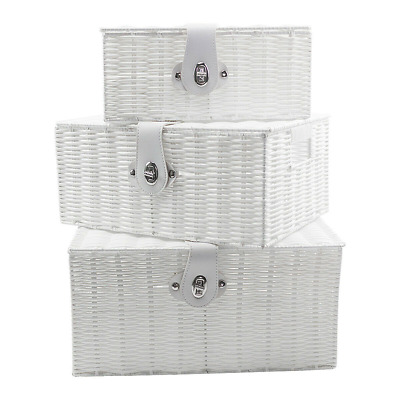 Set Of 3 Resin Wicker Woven Storage Baskets  Hamper Box With Lid Lock  White • 18.80£