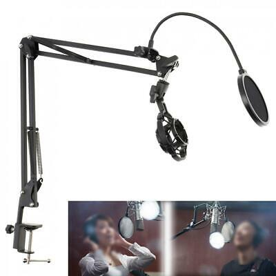 Microphone Suspension Boom Arm Stand Mic Holder Mount Pop Filter Table Clip • 18.60£