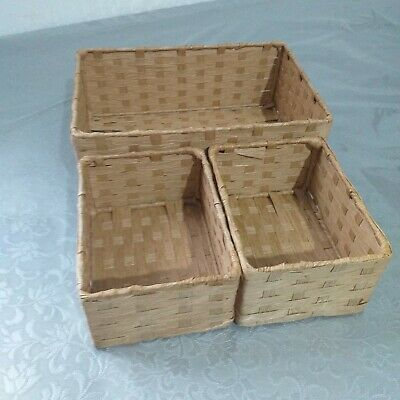Set Of 3 Woven Rectangle Paper Storage Boxes Bath Dressing Storage Solution New  • 12.99£