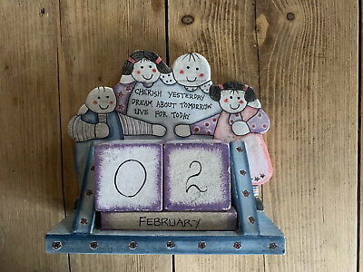 East Of India Family Cherish, Dream And Live Wooden Block Perpetual Calendar • 8.50£