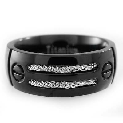 $14.99 • Buy Black Stainless Steel Cable Inlay Wedding Band Mens Womens Engagement Ring NEW