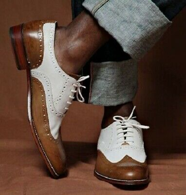 Handmade Leather Two Tone Brogue Brown And White Leather Shoes For Men • 99.99£