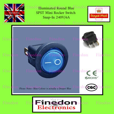 Illuminated Round Blue SPST Mini Rocker Switch Snap-In 240V/6A 3 Pin UK Seller • 2.59£