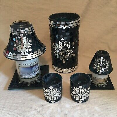 Yankee Candle Christmas Winter Glimmer Set Shade Plate Large Small Blue Silver • 59.99£