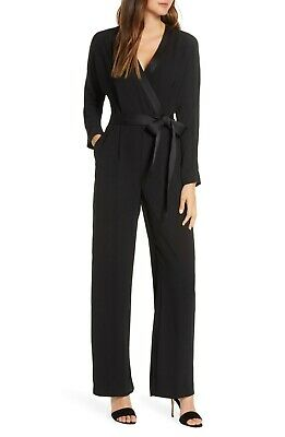 $34.99 • Buy NWOT $158 Eliza J Long Sleeve Wrap Tuxedo Jumpsuit 0