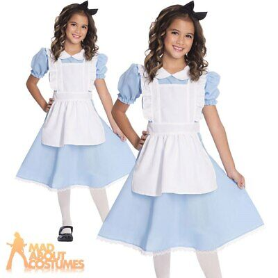 Kids Girls Alice Costume Traditional Wonderland Fancy Dress Book Day Week Outfit • 11.99£