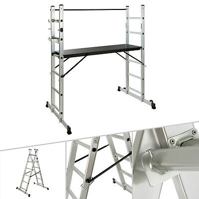 AREBOS Working Ladder Scaffold Tower Working Platform Aluminium/Wood With Wheels • 95.99£