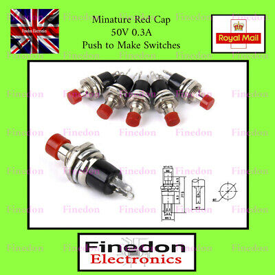 Chassis Mount Button Push-to-Make Red Pack of 3
