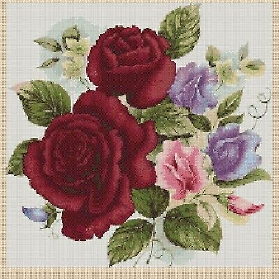 Cross Stitch Chart - Roses And Sweet Pea Posy Of Flowers  607 TSG37 • 3.75£