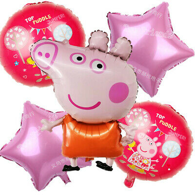 31  Large Pink Peppa Pig George Birthday Balloon Party Foil Air Helium Balloons • 4.79£