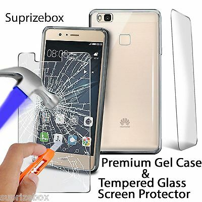 Huawei CASE & SCREEN PROTECTOR - UltraThin Shockproof Clear Cover Tempered GLASS • 0.99£