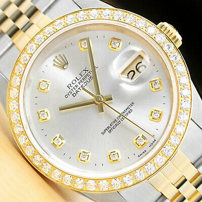 $ CDN9523.07 • Buy Rolex Mens Datejust Silver Diamond 18k Yellow Gold Stainless Steel Watch 1.60 Ct