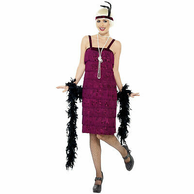 £10.95 • Buy Lades 20s Flapper Costume Burgundy Charleston Fancy Dress Great Gatsby Outfit