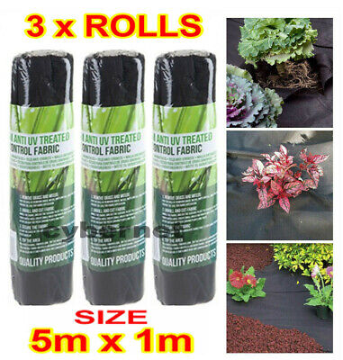 £9.95 • Buy 3 X 1m X 5M WEED CONTROL FABRIC MEMBRANE GROUND COVER SHEET GARDEN LANDSCAPE