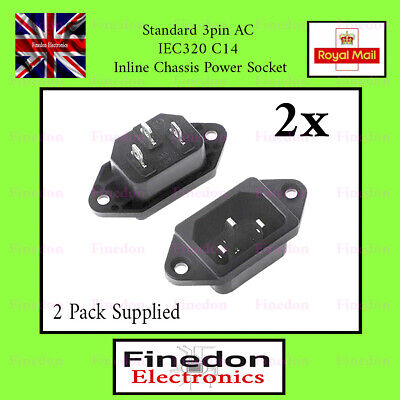 2 Qty 3pin AC IEC320 C14 Inline Chassis Power Socket Connector 10A UK Seller • 3.30£
