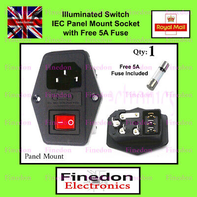 3 Pin IEC320 C14 Inlet Male Power Socket Fused Switched 6A 250V UK Seller • 6.78£
