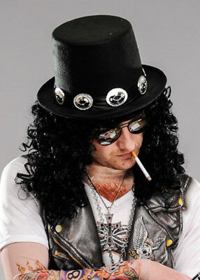 £13.69 • Buy 1980s Rockstar Slash Style Black Top Hat With Band
