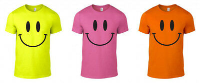 £8.99 • Buy Smiley Face Printed Neon T-Shirt Rave Techno Funny 80s 90s Gift Unisex S-XXL
