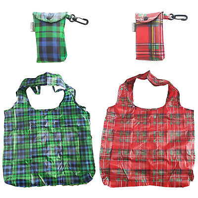Scottish Tartan Eco Fold Up Shopping Bag For Life In Pouch With Clip Attachment • 3.99£