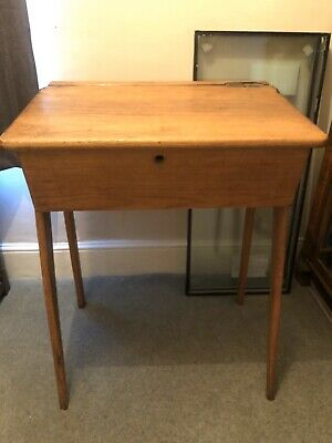 Vintage Antique Old Wooden School Desk With Inkwell And Lid Fab Retro Table • 45£