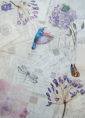 £1.89 • Buy Rice Papers Decoupage Scrapbook And Craft Bird Flowers And Butterfly 137