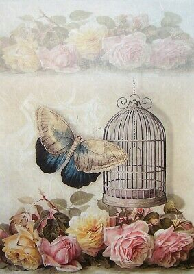 £1.89 • Buy Rice Papers Decoupage Scrapbook And Craft Butterfly And Roses 215