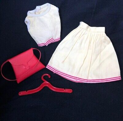 $ CDN24.99 • Buy Vintage Barbie Doll Clothes Clone BUTTER YELLOW Top SKIRT Red Stripes & PURSE