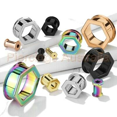 AU7.50 • Buy Hexagon Front Double Flared Ear Tunnel Stretcher CHOOSE SINGLE OR PAIR