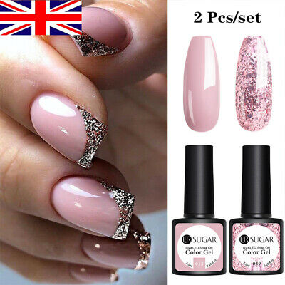 UR SUGAR 2 Bottles Combo Set UV Gel Nail Polish Soak Off Gel Varnish Glitter • 5.89£