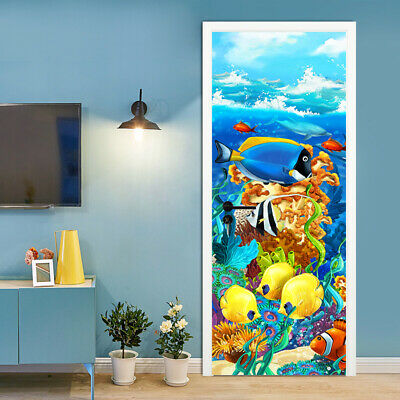 3D Underwater Colorful Fishes Self-Adhesive Door Murals Kid's Room Wall Stickers • 11.69£