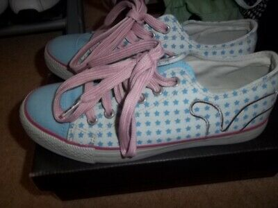 Ladies Flora Star Blue Pink Cream Voi Jeans Canvas Pumps Trainers Shoes Size 5 • 14.95£