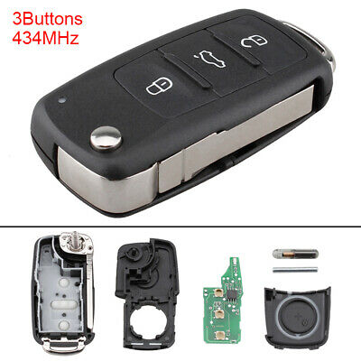 $7.36 • Buy 434MHz Uncut Flip Remote Car Key Fob Shell Fit For VolksWagen / Beetle / Caddy