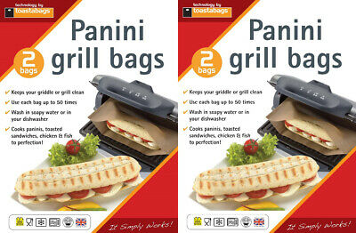 4 X Panini Grill Bags Reusable Griddle Toastie Lunch Snack Sandwich Toastabags • 4.98£