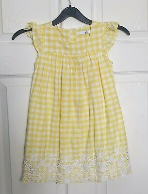 M&S Yellow Mix Gingham Checked Broderie Anglaise Dress Girls 3-4 Years • 5.49£